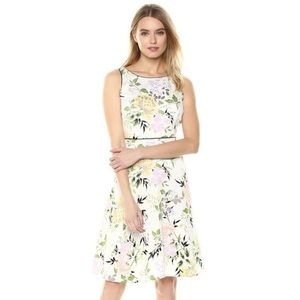 {nine west} white floral Viola fit and flare dress